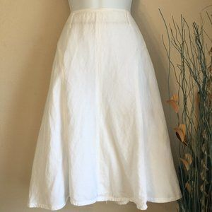 Linen Rayon blend lined A Line skirt white 12